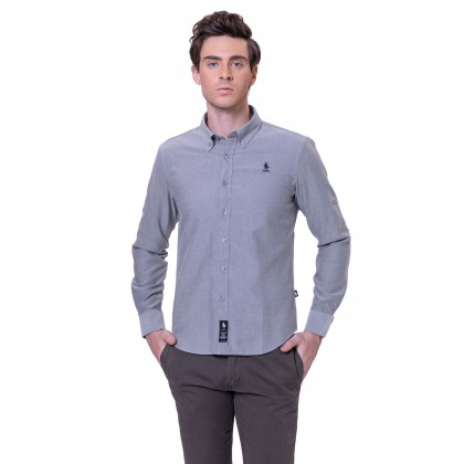 RCB POLO CLUB MEN LONG SLEEVE PLAIN LIGHT GREY RMLSA10065 OF3