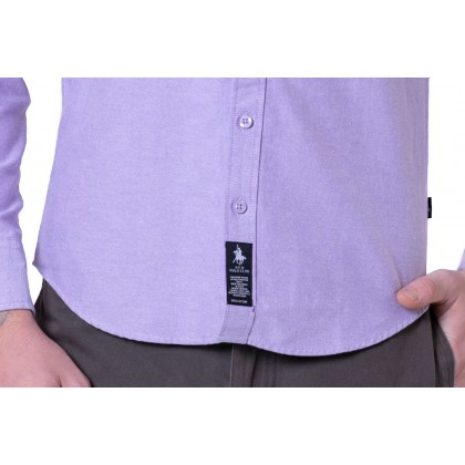 RCB POLO CLUB MEN LONG SLEEVE PLAIN LIGHT PURPLE RMLSA10065 OOR