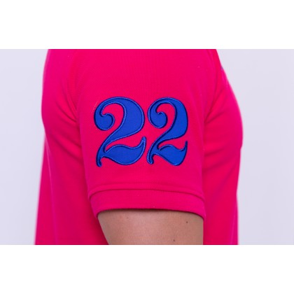 RCB POLO CLUB MEN POLO TEE SOLID-PINK NUMBER 22 RMTS10001-50 DARK PINK