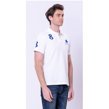 RCB POLO CLUB MEN POLO TEE SOLID-WHITE NUMBER 8 RMTS10207-50 00P